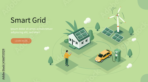 Smart Grid Technology with Renewable Energy Fototapet