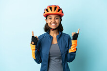 Young Cyclist Woman Isolated O...