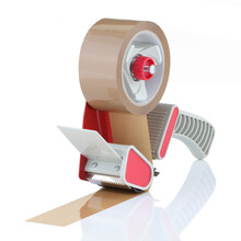 Parcel Tape Dispenser With Brown Roll Of Tape On White Background