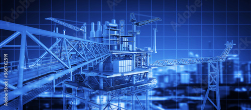 3D rendering blue digital theme on futuristic oil rig building structure , banner picture.