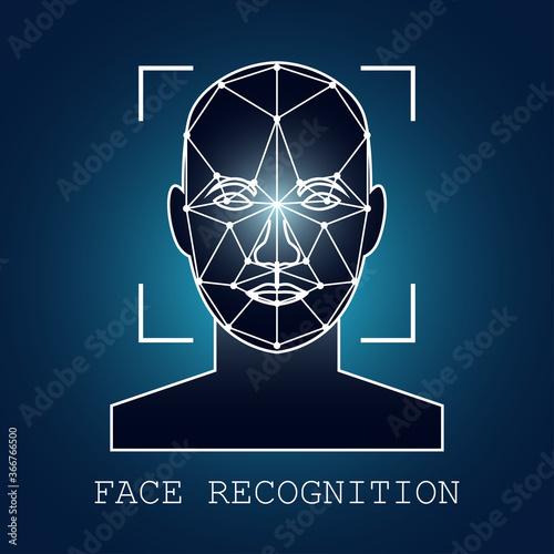 human face recognition scanning system. vector illustration