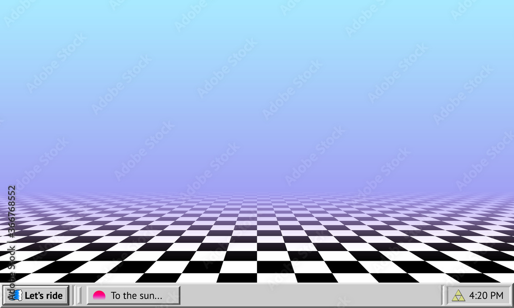 Fototapeta Vaporwave abstract background with retro computer interface worktable and checkered floor wallpaper