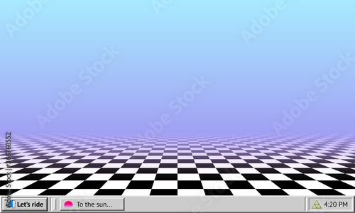Fototapeta Vaporwave abstract background with retro computer interface worktable and checkered floor wallpaper obraz