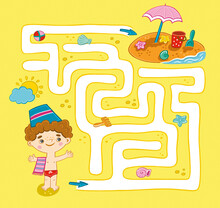 Maze For Kids: A Boy Goes To T...