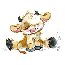 Cute Little Calf. Funny Cow Watercolor Illustration. Cartoon Bul. Farm Animal.