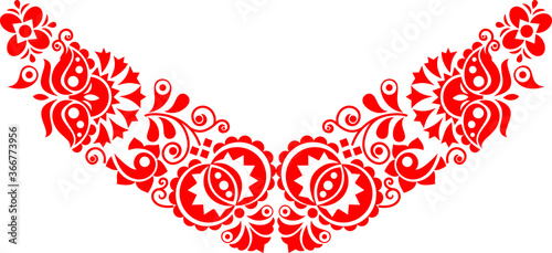 Fotografiet beautiful folk art, floral decoration beautiful flower illustration