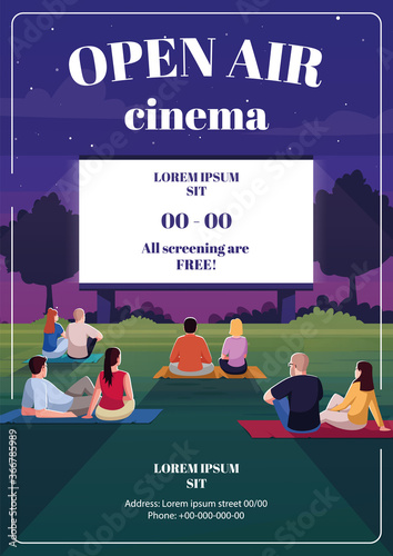 Open air cinema poster template. Romantic date. Performance on screen. Commercial flyer design with semi flat illustration. Vector cartoon promo card. Outdoor film festival advertising invitation