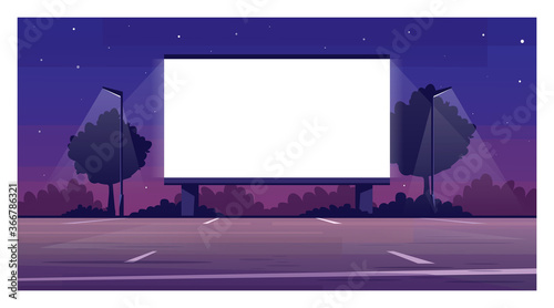 Fototapeta Drive in cinema screen semi flat vector illustration. Empty parking for film premiere outside. Public urban place. Weekend entertainment. Outdoors movie night 2D cartoon scene for commercial use obraz