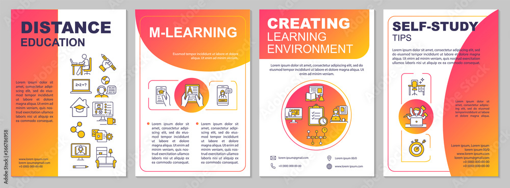 Fototapeta Online education brochure template. Mlearning. Self study. Flyer, booklet, leaflet print, cover design with linear icons. Vector layouts for magazines, annual reports, advertising posters