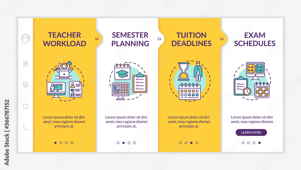 Fototapeta Distance learning components onboarding vector template. Online education. Semester planning. Responsive mobile website with icons. Webpage walkthrough step screens. RGB color concept