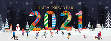 Vector Happy New Year 2021 Wit...
