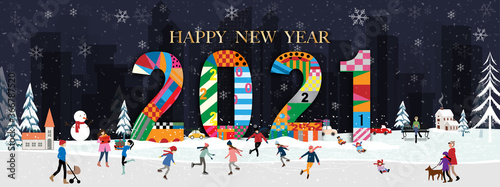 Fototapeta Vector Happy New Year 2021 with winter landscape in city with people celebrating on Chritsmas eve