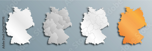 Fototapeta set of vector maps of Germany  with shadow  obraz