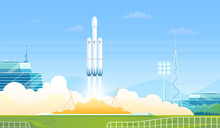 Launch Rocket Vector Illustrat...