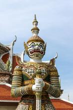 Demon (Giant Or Yak) Guardian At Temple Of Dawn (Wat Arun Ratchawararam Ratchawaramahawihan Or Wat Arun), Bangkok, Thailand