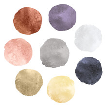 A Set Of Abstract Watercolor Round Brush Strokes On White Background