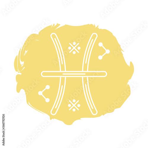 Canvas Print pisces zodiac sign symbol block style icon