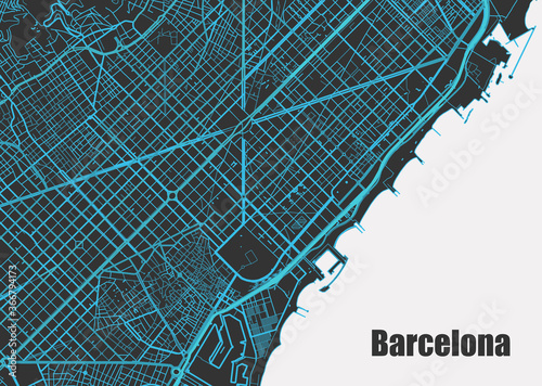 Fototapeta Stylish vector high-tech map of Barcelona. with blue streets