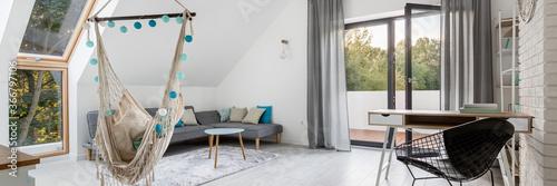 Fototapeta Attic living room with hammock, panorama obraz