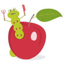 A Cartoon Worm Eats An Apple. ...