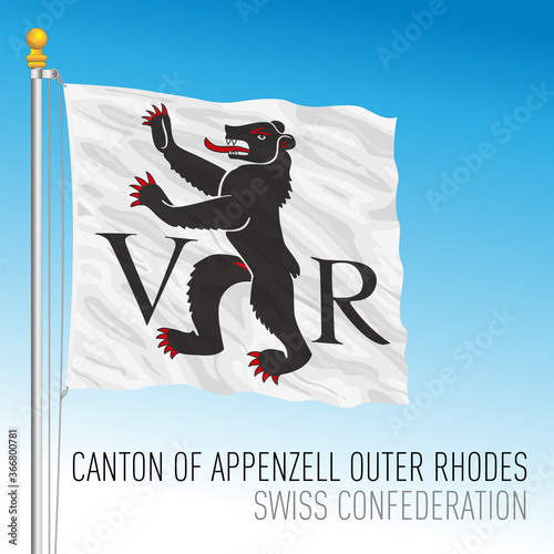 Cuadros en Lienzo Canton of Appenzell Outher Rhodes, official flag, Switzerland, european country,