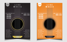 Live Music Cover Poster Background Design Template With A Guitar Acoustic Shapes Illustration. Vector Banner Layout For Promo Club Invitation Concert Event, Festival Flyer, Jazz Blues Musician Band,