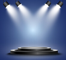 Round Podium, Pedestal Or Platform, Illuminated By Spotlights In The Background. Vector Illustration. Bright Light. Light From Above. Advertising Place