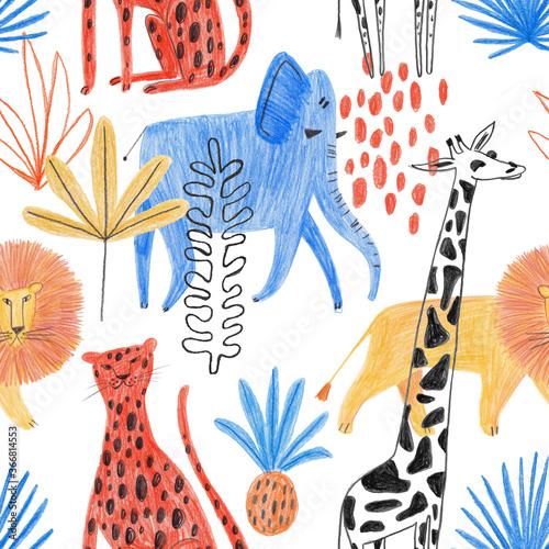 Obraz Seamless Pattern With Funny African Animals. - fototapety do salonu