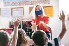 School: Teacher Wearing Face M...