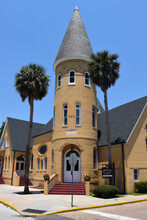 Ancient City Baptist Church In Saint Augustine Florida On A Sunny Summer Day.