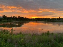 Sunsetting Over The Pond In Loudoun County, Virginia.