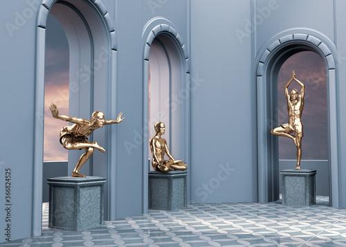Figuras 3d de yoguis en diversas posturas de yoga o asanas Canvas Print