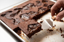 Chocolate Brownies In A Pan
