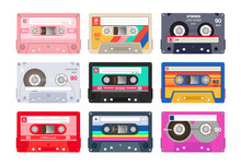 Vintage Stereo Cassettes Flat Icon Set. Different Retro Audio Tapes, Old School Media Equipment Isolated Vector Illustration Collection. Outdated Technology And Music Concept