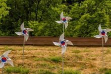 White Pinwheels With Korean Flag