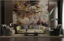 Luxurious Session With Forest Wallpaper And Tropical Jungle For Banana And Palm Trees, Old Drawing With Wood Sides, Wall Lights, Table, Sofa And Puof-3d Max