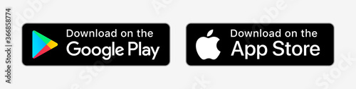 Google Play Store, Apple App Store download buttons vector set. Mobile app download icons. Isolated UI elements on white background. Editorial stock illustration.