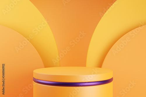 Fototapeta Orange podium and minimal abstract background for Halloween, 3d rendering geometric shape, Stage for awards on website in modern. obraz