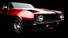 3D Illustration. Muscle Red Car Rendering Isolated On Black Background. Vintage Classic Sport Car. Car Show. Wheels. Bumper. Front Perspective View. Chevrolet Camaro.