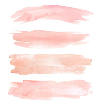 Set Of Peach Watercolor Hand Painting Brush Stroke Texture. Abstract Collection Isolated On White Background. Makeup Elements For Design.