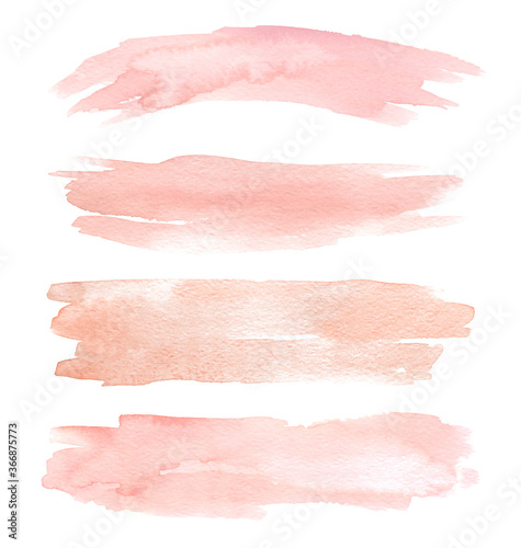 Set of peach watercolor hand painting brush stroke texture Slika na platnu