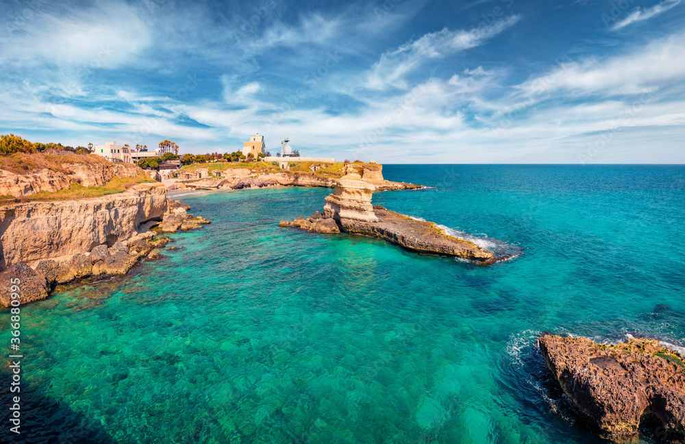 Fototapeta Magnificent spring view of popular tourist attraction - Torre Sant'Andrea. Captivating morning seascape of Adriatic sea, Torre Sant'Andrea village location, Apulia region, Italy, Europe.