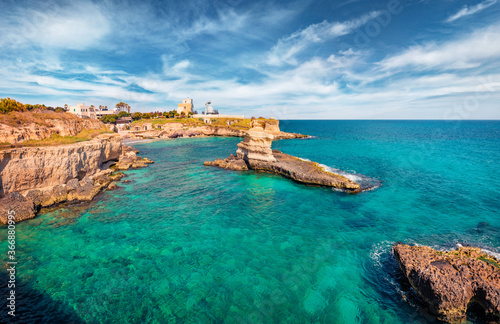 Tela Magnificent spring view of popular tourist attraction - Torre Sant'Andrea
