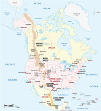 Vector Outline Map Of The Rocky Mountains In North America