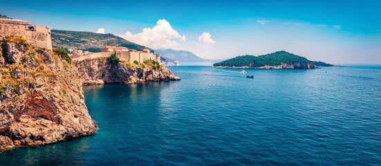 Gorgeous spring view of famous Fort Bokar in city of Dubrovnik. Splendid morning seascape of Adriatic sea, Croatia, Europe. Beautiful world of Mediterranean countries. Sunny outdoor scene.