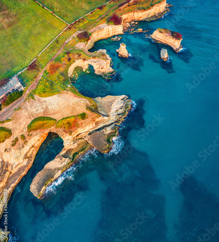 Vászonkép Top down view from flying drone of popular tourist attraction - Torre Sant'Andrea