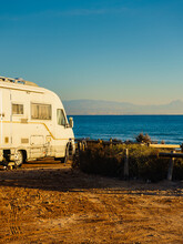 Camper Car On Beach, Camping On Nature