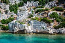 Ruins Of The Ancient Sunken Lycian Underwater City Of Dolichiste On The Island Of Kekova. Attraction Of The Mediterranean Sea Under Water. Sea Tour Near Demre And Semena. Antalya Province, Turkey