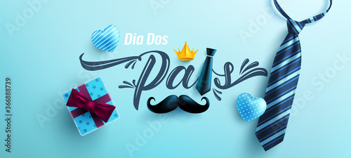 Dia Dos Pais.Father's Day in portuguese language with necktie and gift box on blue background.Greetings and presents for Father's Day in flat lay styling.Promotion and shopping template for love dad - 366888739