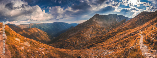 Obraz Mountain landscape. Hiking fagaras mountains in Romania. Carpathians, Transilvania, Romania, Europe. Transfagarasan road. Panorama - fototapety do salonu